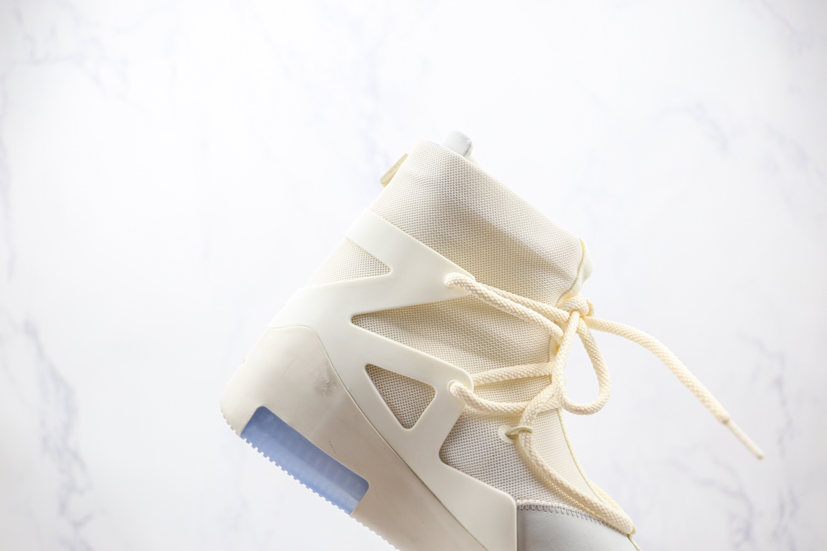 耐克Nike Air Fear of God 1 String The Question x FOG联名款纯原版本高帮网面白蓝淡蓝色拉链款高街鞋原盒原标原档案数据开发 货号:AR4237-100