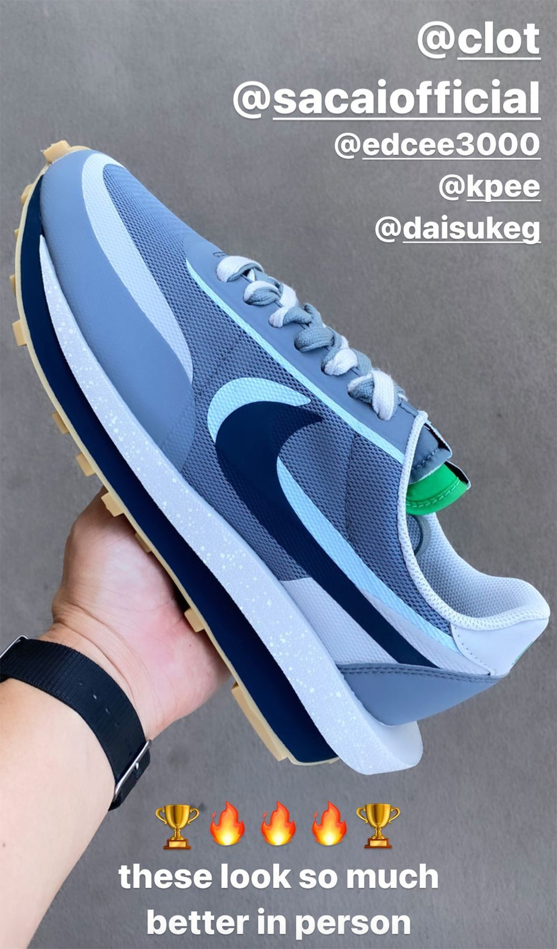"""陈冠希亲晒!全新CLOT x Sacai x Nike LDWaffle""""死亡之吻2""""下月发售!"""