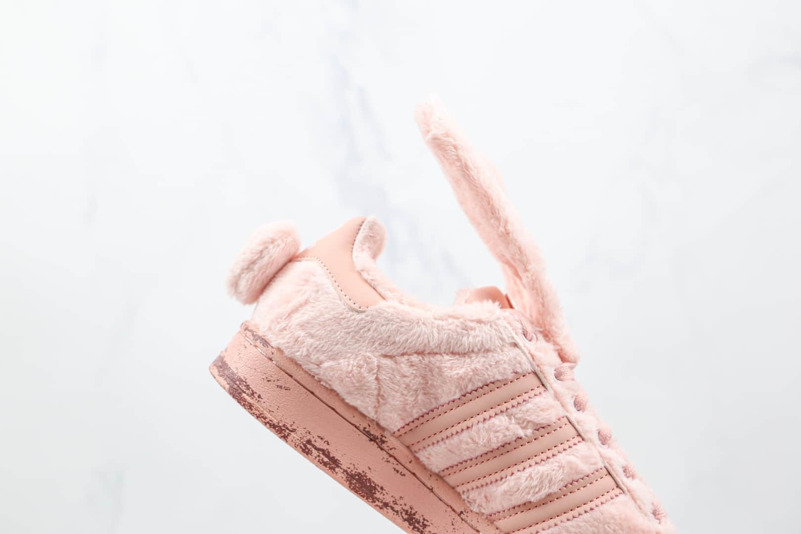 阿迪达斯Adidas originals Superstar Karoro纯原版本三叶草粉兔子长绒贝壳头板鞋原盒原标 货号:FZ5258