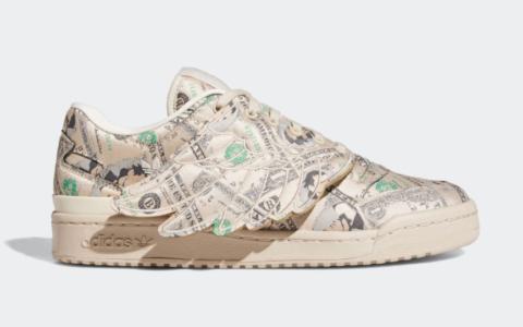 """这双鞋居然用""""美金""""装饰!?低帮Jeremy Scott x adidas""""翅膀鞋""""惊艳亮相! 货号:GX6393"""