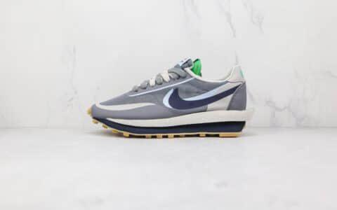 耐克Nike LDWAFFLE GREY x sacai x CLOT纯原版本三方联名款华夫2.0灰蓝色双钩老爹鞋原盒原标 货号:DH3114-001