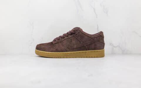耐克Nike Dunk SB Low纯原版本低帮SB DUNK大脚怪麂皮红褐色板鞋内置气垫 货号:313170-222