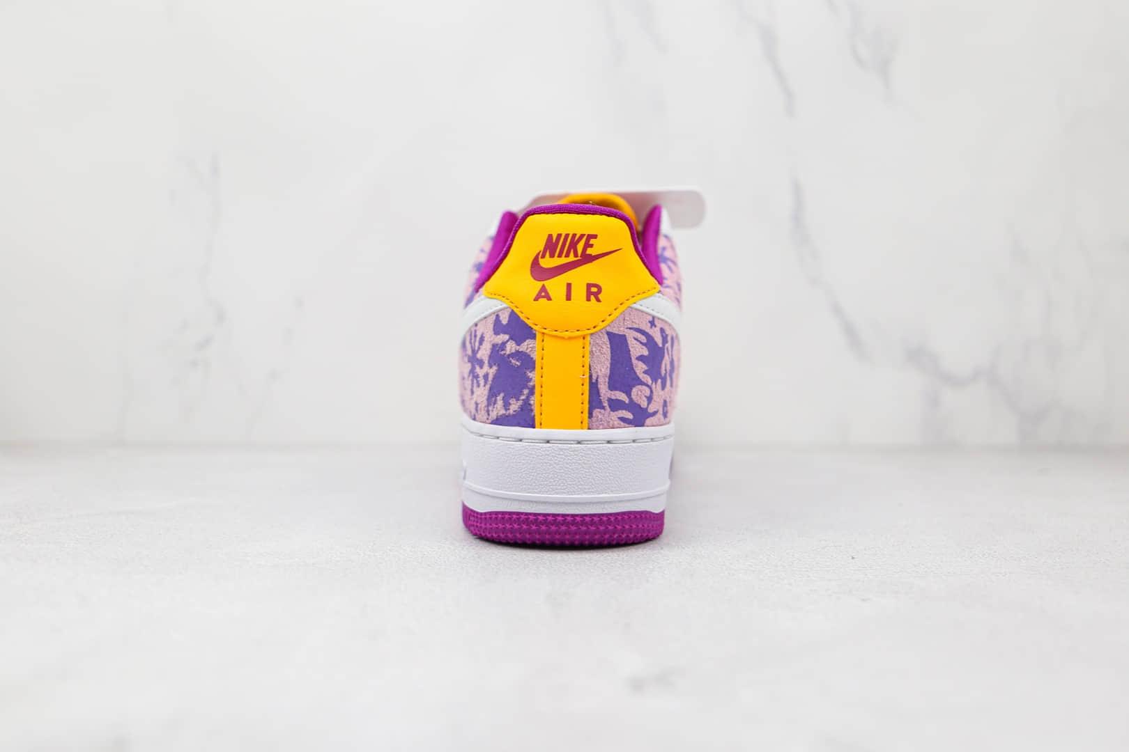 耐克Nike AIR FMRCE 1'07纯原版本低帮空军一号彩色枫叶印花白粉紫黄色板鞋原档案数据开发 货号:DD5516-584