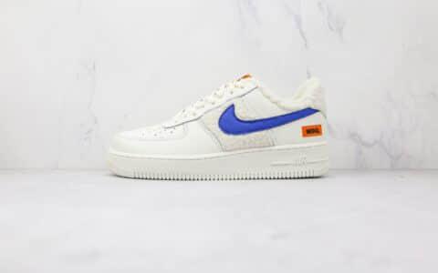 耐克Nike AIR FMRCE 1 07纯原版本低帮空军一号白蓝色羊毛羊绒板鞋内置气垫 货号:DO6680-100