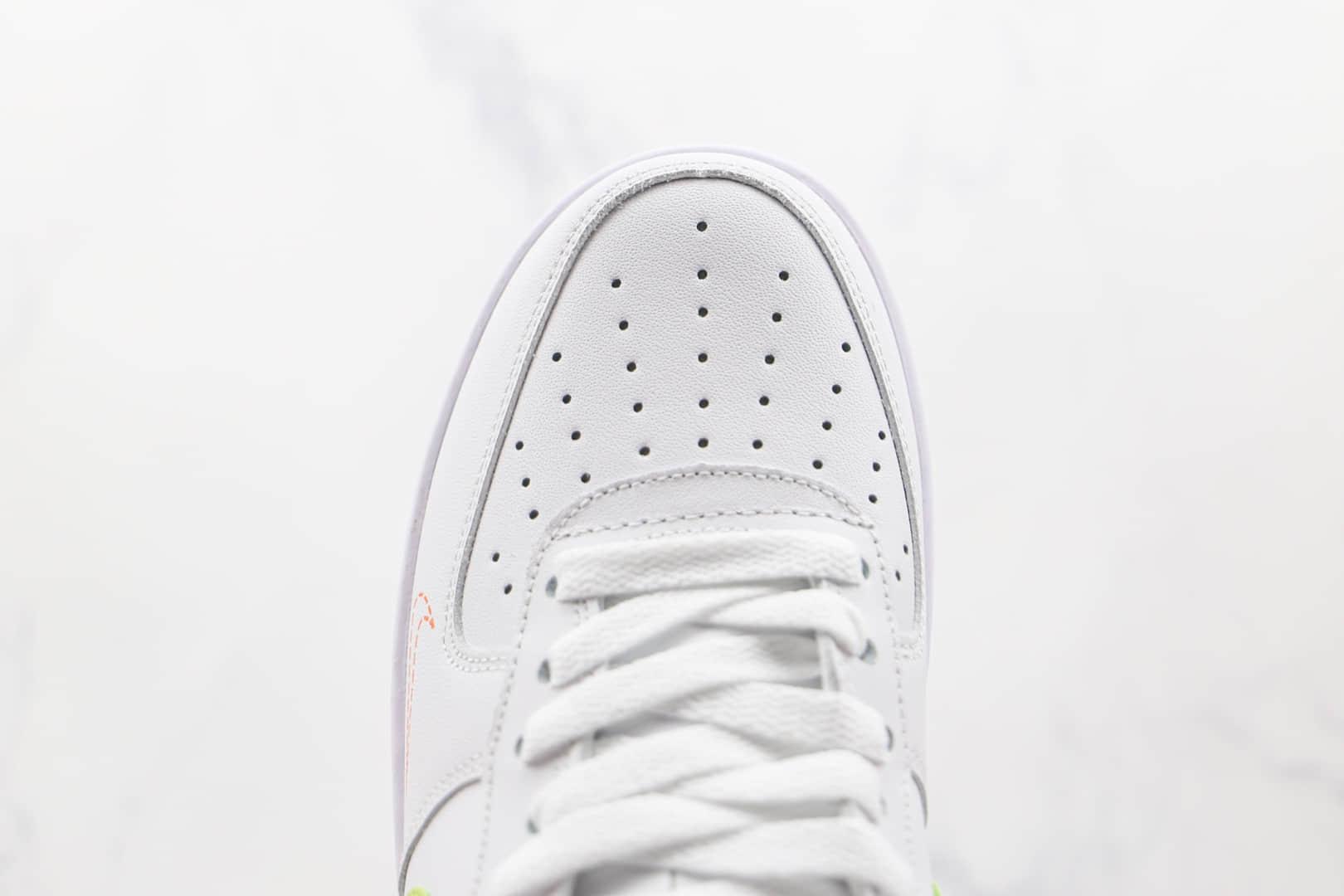 耐克Nike Air Force1'07纯原版本低帮空军一号白青绿色叠勾板鞋原档案数据开发 货号:DN8000-100