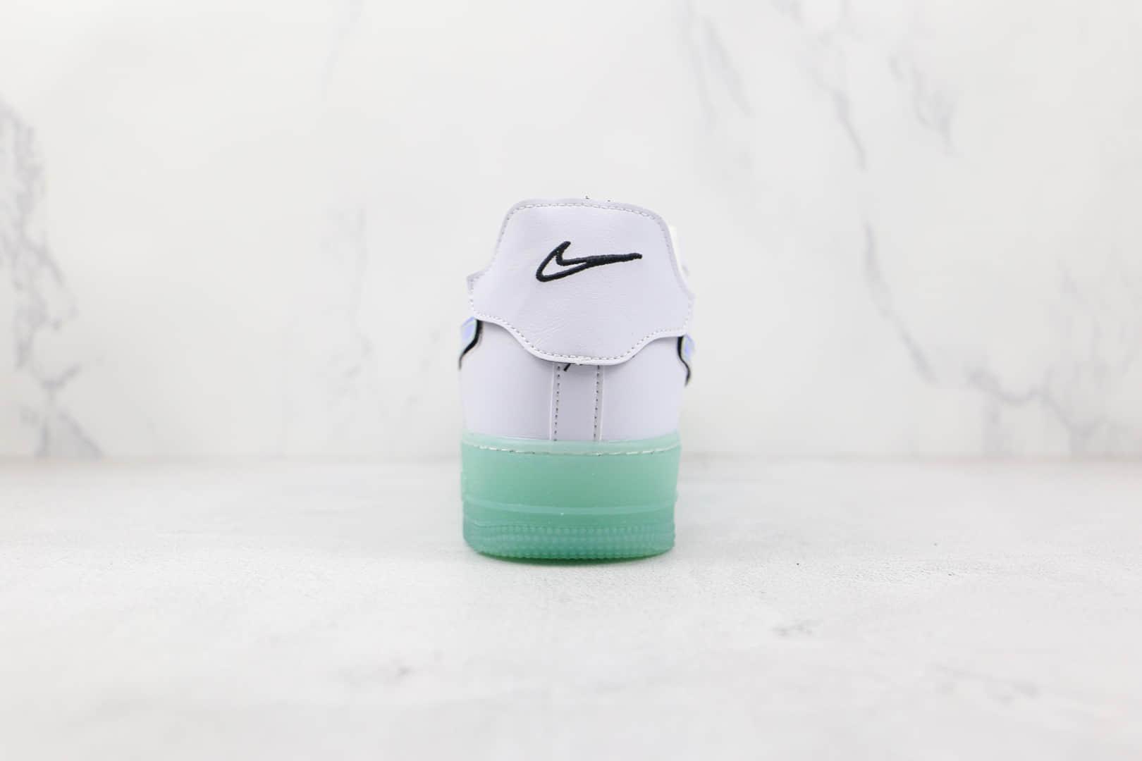 耐克Nike Air Force 1纯原版本低帮空军一号白金色换钩魔术贴夜光底板鞋原盒原标 货号:DH7341-100
