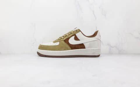 耐克Nike Air Force 1纯原版本低帮空军一号麂皮绿咖白色拼接板鞋内置气垫 货号:DB2260-199