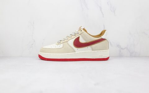 耐克Nike Air Force 1纯原版本低帮空军一号米黄红色板鞋内置气垫 货号:QZ3068-226