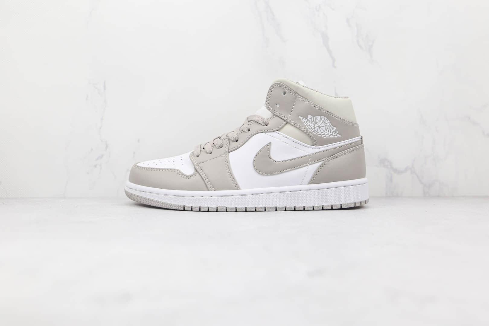 纯原版本乔丹中帮AJ1白灰色麻布奶油篮球鞋出货